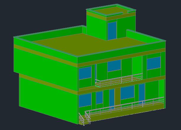 نقشه دوبعدی و سه بعدی ساختمان دو طبقه با فرمت DWG