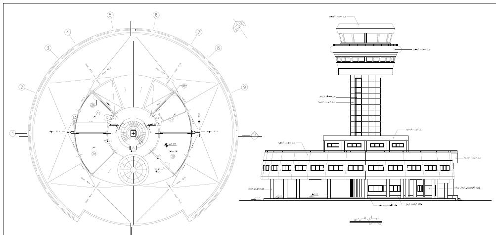 نقشه پی دی اف کامل معماری ساختمان برج مراقبت