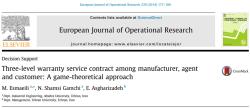 مقاله ترجمه شده قرارداد خدمات گارانتی سه سطحی میان تولیدکننده، نمایندگی و مشتری: رویکرد تئوری بازی